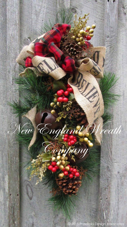 "Woodland ""Believe"" Swag with Sleigh Bells  ~A New England Wreath Company Designer Original~"