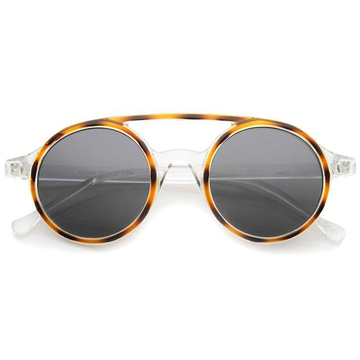 Retro Fashion Dapper Double Bridge Round Lens Aviator Sunglasses 47mm