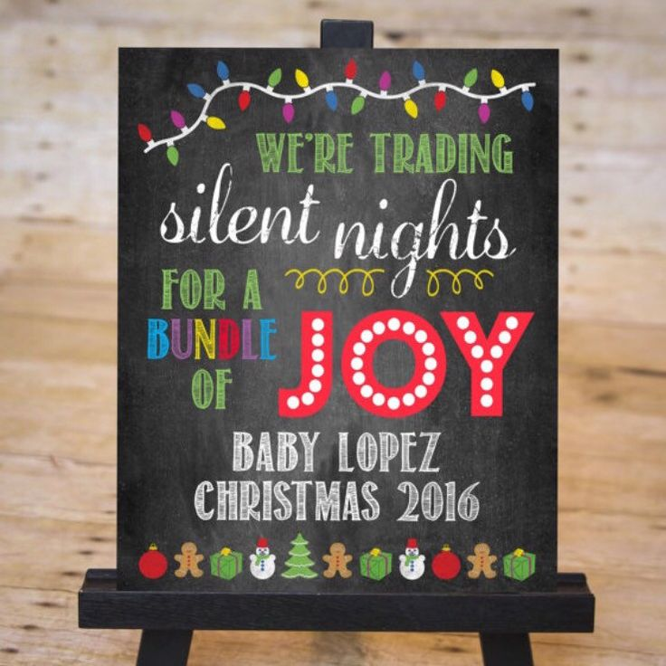 Having a December baby this year? Announce your pregnancy with this joyous and festive chalkboard sign!