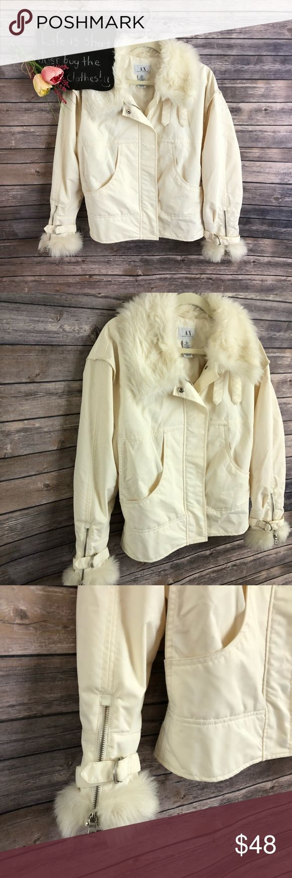 """Armani Exchange offwhite faux fur zip up jacket Armani Exchange offwhite faux fur zip up jacket. Has one spot that is under the collar so will never be seen. Beautiful jacket!! Size S.  20"""" arm pit to arm pit.  22.5"""" length. Armani Exchange Jackets & Coats"""