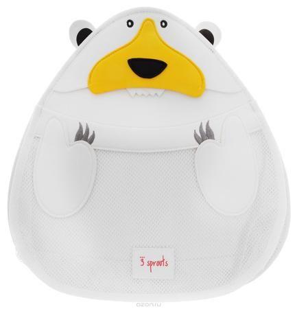 3 Sprouts Органайзер для ванной Белый мишка  — 2431р. ---------- Органайзер для ванны 3 Sprouts идеально подойдёт для хранения банных принадлежностей Вашего малыша. Он изготовлен из материала, используемого для гидрокостюмов, так что все игрушки и банные принадлежности будут храниться в сухости, а также защищены от плесени. Эластичный «рот» косметички превращает поиск той самой игрушки в настоящую охоту! Крепится на присоску.
