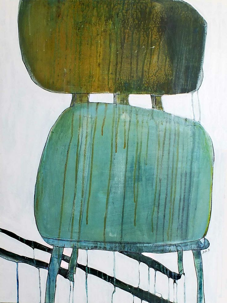 """The Chair"" Acrylic and enamel paint with pencil on paper http://www.janickejohansen.com/abstract-landscapes--more.html"