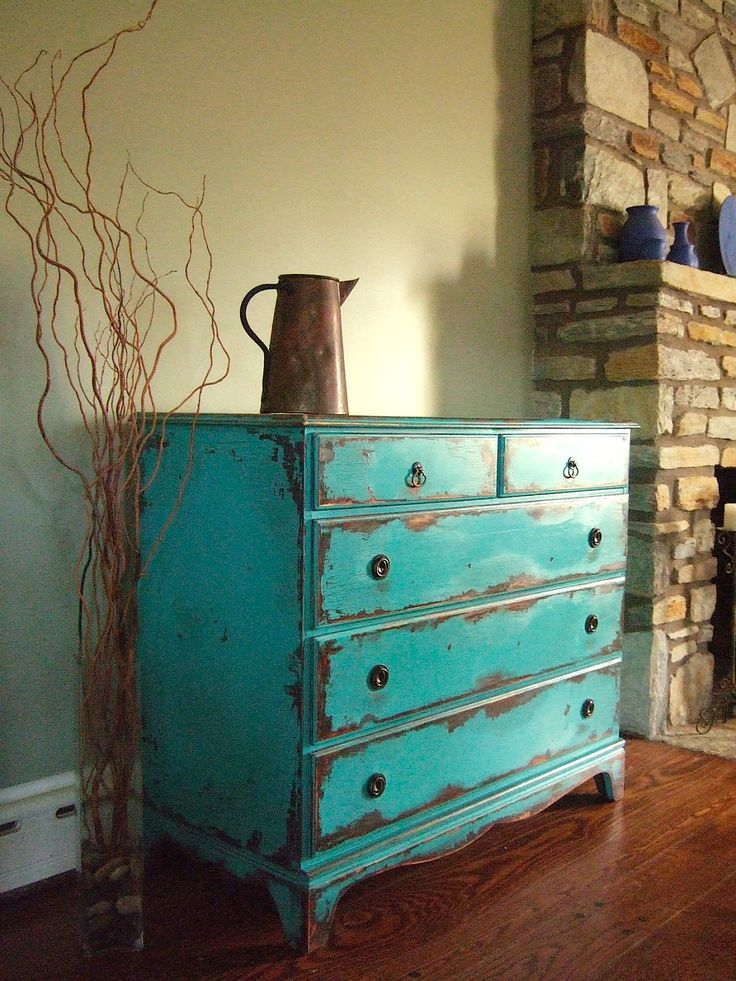 AWESOME Antiqued Teal Chests of Drawers, via Etsy.