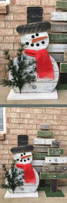 I want this snowman on my my front porch! Wood Standing Snowman 31 inch Snowman Fence Wood Christmas Front Porch Decor Christmas Decor, rustic Christmas, Rustic decor, Winter decor #affiliatelink
