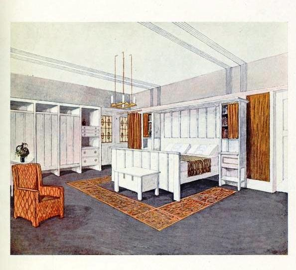 An English Arts & Crafts bedroom (120 Interiors in Colour 1912 ...