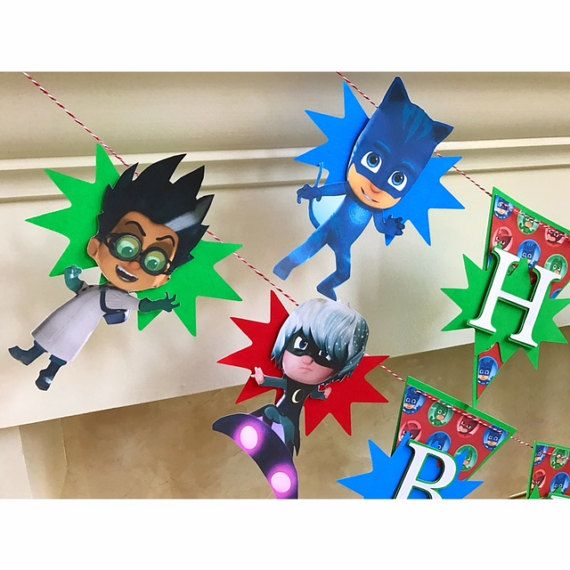 Revised Pj Mask Banner 6 Characters Colorful Pj Mask Banner