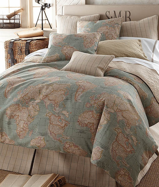 Travel Inspired Guest Room: Map-themed Bedding