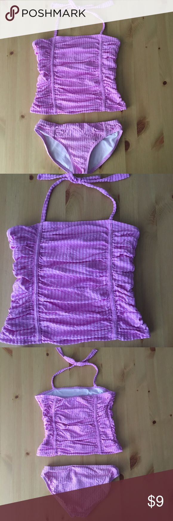 Jessica Simpson Light Purple Two Piece In excellent condition! Tankini with ruching and ties around the neck. Size 10. I'm a speedy shipper and we have a smoke free home! Measurements upon request. I'm always open to reasonable offers. Jessica Simpson Swim Bikinis