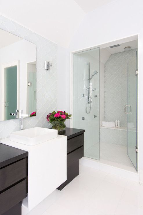 Arabesque Tile Shower Surround Contemporary Bathroom