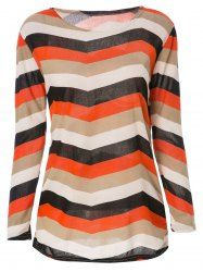 Stylish Long Sleeve Scoop Neck Striped Color Block T-Shirt For Women in Orange | Sammydress.com Mobile