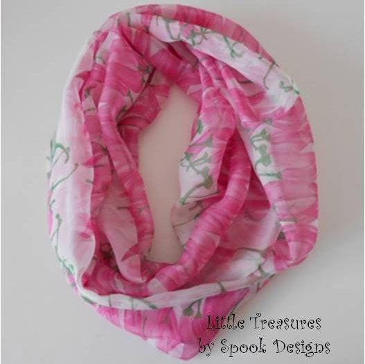 Infinity Scarf : Chiffon Pink Chilli's by PatternsbySpook on Etsy