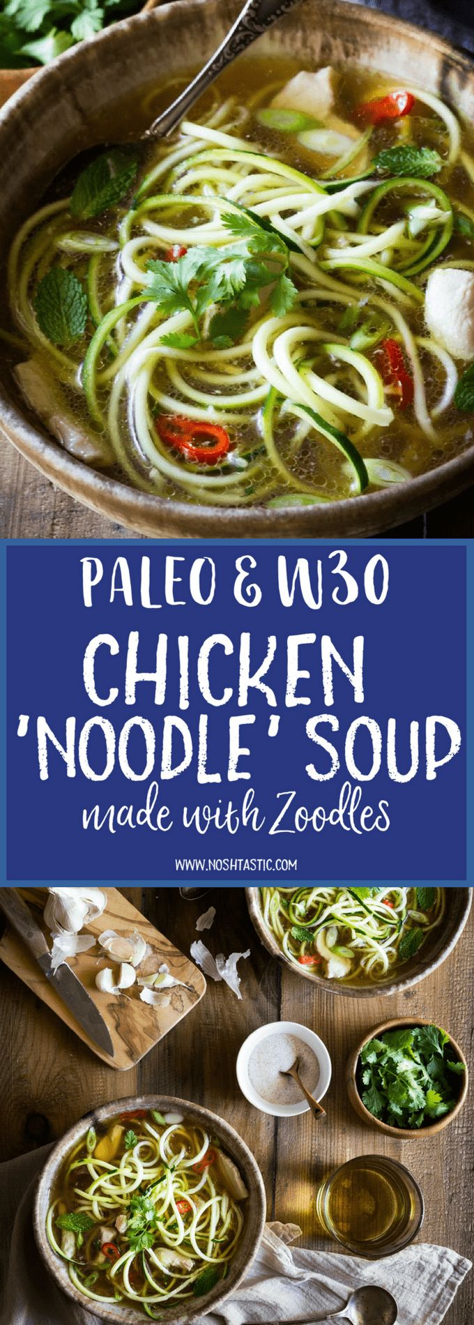 My Paleo Chicken Noodle Soup with zucchini noodles (or zoodles) can be made in 20 MINUTES! It's packed with flavor, is healthy, low carb, whole30 and gluten free too!