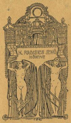Bookplate by Sándor Nagy for Radisics Jenő, 1912