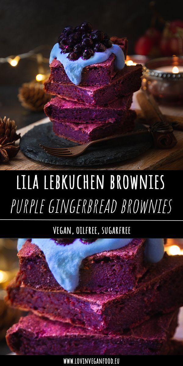 Vegan Purple Gingerbread Brownies