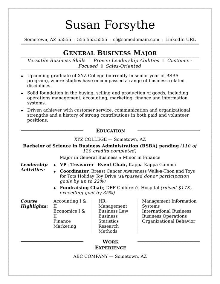 College Student Resume Example \u2013 Business and Marketing College