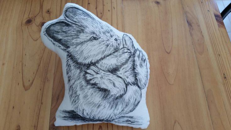 Baby bunny hand drawn cushion