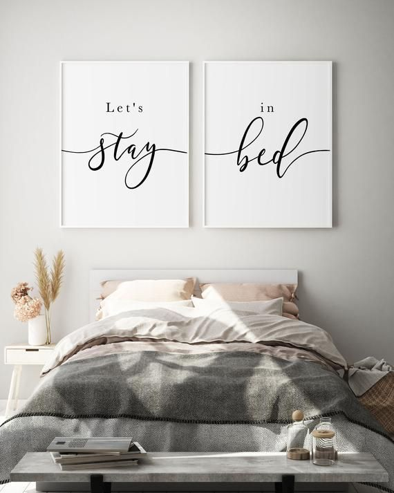 Lets Stay Bed Set Of 2 Prints Above Bed Wall Art Bedroom Etsy In 2020 Above Bed Decor Bed Decor Bedroom Wall Decor Above Bed