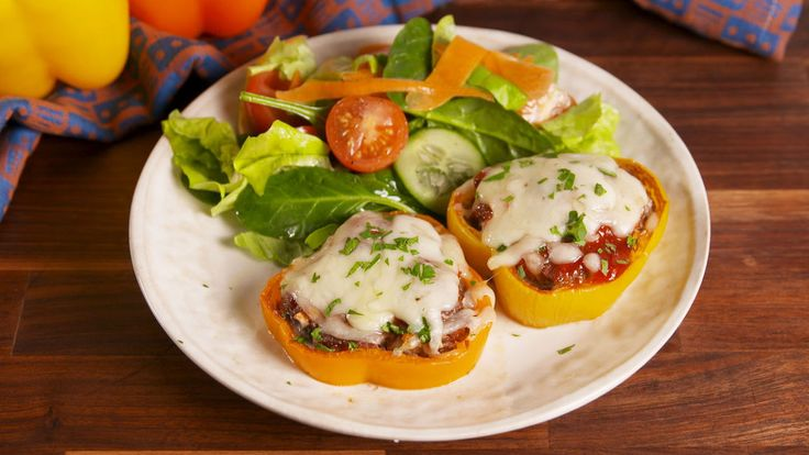 Bell Pepper Meatloaves  - Delish.com - would leave out the ketchup and brown sugar and swap pork rinds for breadcrumbs.