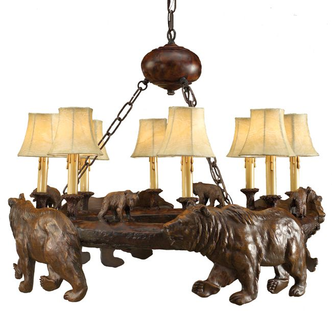 Rustic chandeliers silhouette bear chandelierblack forest decor