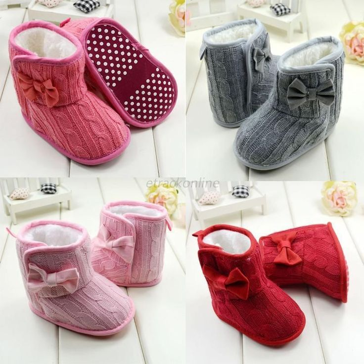 Baby Girl Boy Snow Boots Knit Bowknot Faux Fleece Soft Sole Kids Woolen Yam Knit Fur 3 18 Months-in First Walkers from Mother & Kids on Aliexpress.com | Alibaba Group