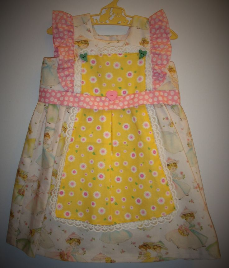 Baby dress, size 18-24 months, dress and apron, sunbonnet sue fabric, vintage, unique, lace trimming, wooden buttons by LittleLarkClothing on Etsy