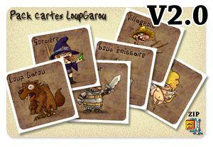Grand jeu du loup garou. Cartes aux illustrations originales, avec de nouveaux personnages dont leur rôles sont expliqués.