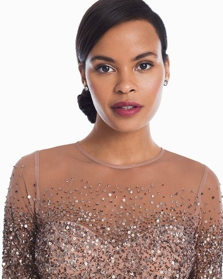 Womens Adrianna Papell Ombre Sequin Gown By White House Black