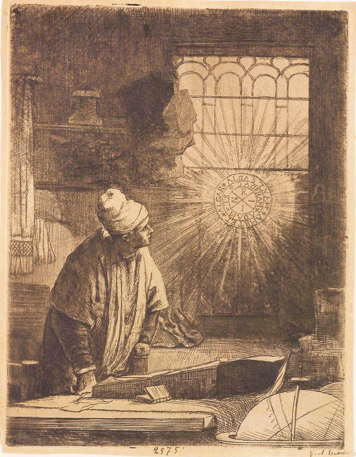 """Doctorul Faustus, cca 1652.  În centrul cercului din fereastră acronimul: INRI; în jurul ei, în inelul interior: + ADAM + TE + DAGERAM; în inelul exterior: + AMRTET + ALGAR + ALGASTINA ++. Imagine din colecțiile Bibliotecii """"V.A. Urechia"""" Galați."""