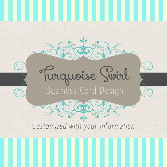 Business Card Design Turquoise and Gray Swirl Premade Design