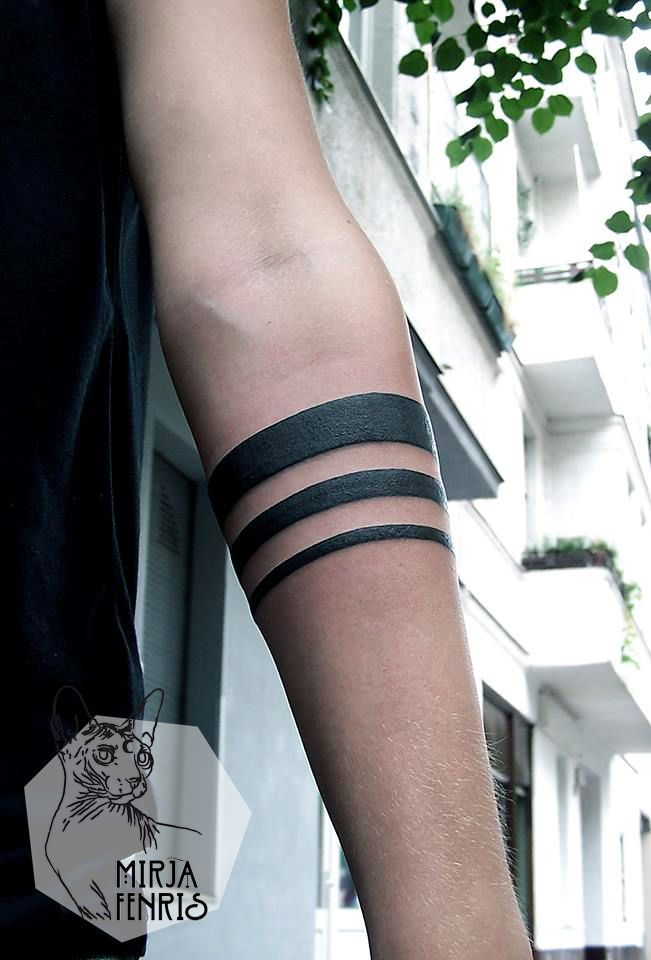 Black and white, geometric, minimalist, tribal, forearm tattoo on TattooChief.com