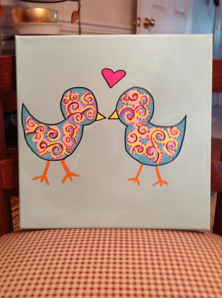 love birds canvas. idead for dorm decor