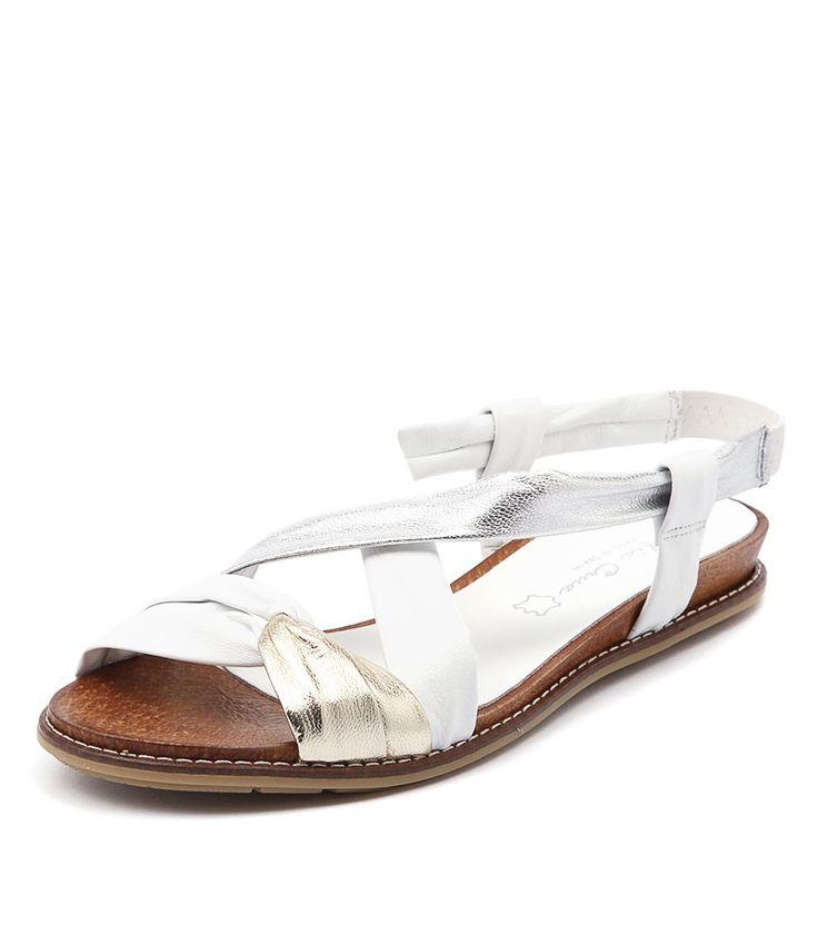 Leather Sandals   White Sandals   Metallic Sandals   Sofia Cruz at  styletread.com.