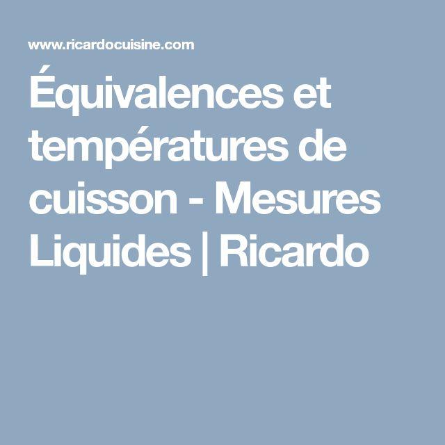 Équivalences et températures de cuisson - Mesures Liquides | Ricardo