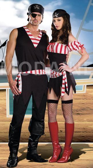 Femme et homme costumes pirates halloween sexy déguisement pas cher jolie [#M1308234738] - modanie