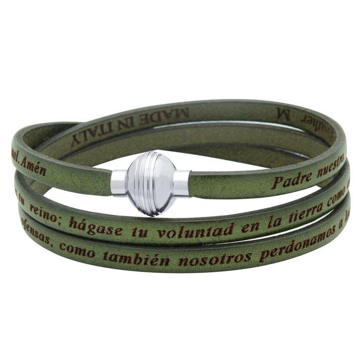 Beautiful authentic leather olive green wrap bracelet. Lord's prayer in Spanish wrap bracelet. Brazalete del padre nuestro en espanol. by Jadorelli on Etsy