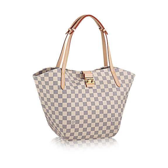 Salina PM Damier Azur Canvas - Handbags   LOUIS VUITTON Elegant and compact, the Salina PM is a bag that's charmingly feminine. Its finely worked long flat handles and supple Damier Azur canvas make it a delight to carry on the shoulder. - Natural cowhide leather trim - Shiny golden brass metallic pieces - Squeeze-to-open clasp inspired by classic Louis Vuitton trunk locks - Wide opening for easy access - Microfibre lining - 1 interior zipped and 3 flat pockets