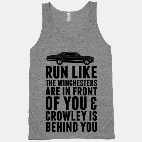 Run Like The Winchesters #castiel #cas #angel #supernatural #nerd #geek #dean #winchester #fitness #fitspo