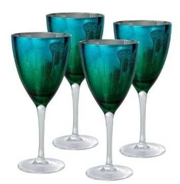 Peacock Wine Glasses - Set of 4