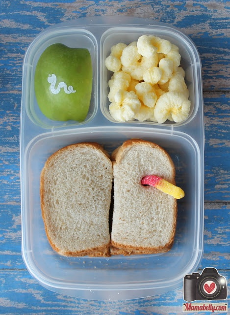 A wormy lunch in @Kelly Teske Goldsworthy Teske Goldsworthy Lester / EasyLunchboxes with delicious @Darcie Hartford Ballenger to Eat Fruit apples