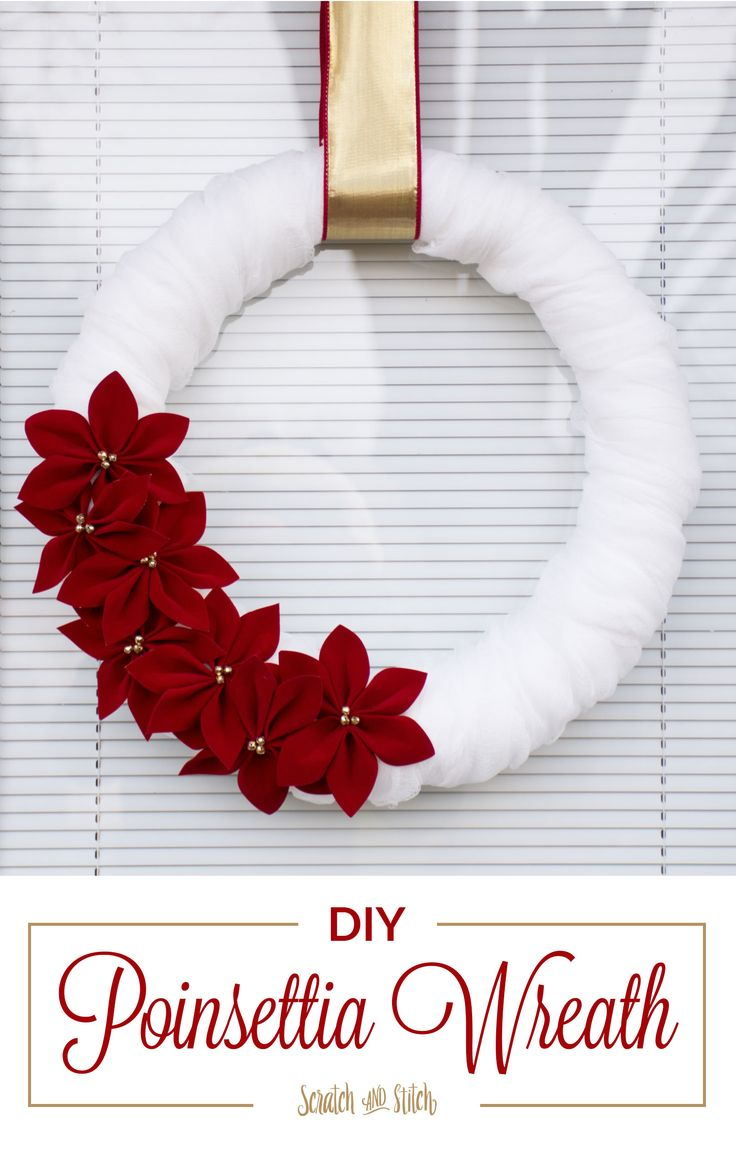 Make a Poinsettia Wreath for your front door this holiday season. Use bright white cheesecloth, red velvet ribbon, and gold jingle bells.