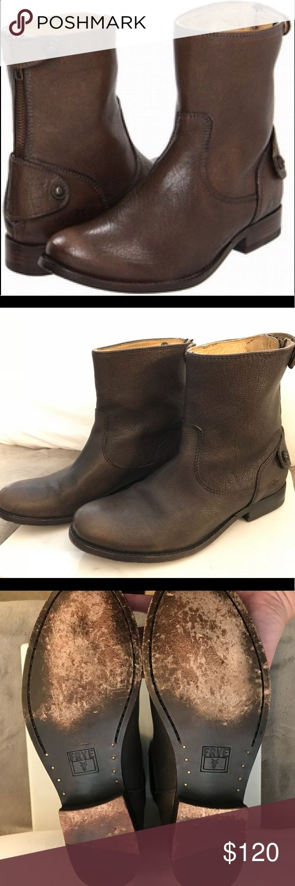 Frye Melissa Short Button Boot 5.5 Barely worn Frye short button boots with zipper on the back. Only signs of wear are on the bottom. Beautiful greyish-brown color that goes with everything. Size is a 5.5. Frye Shoes Ankle Boots & Booties