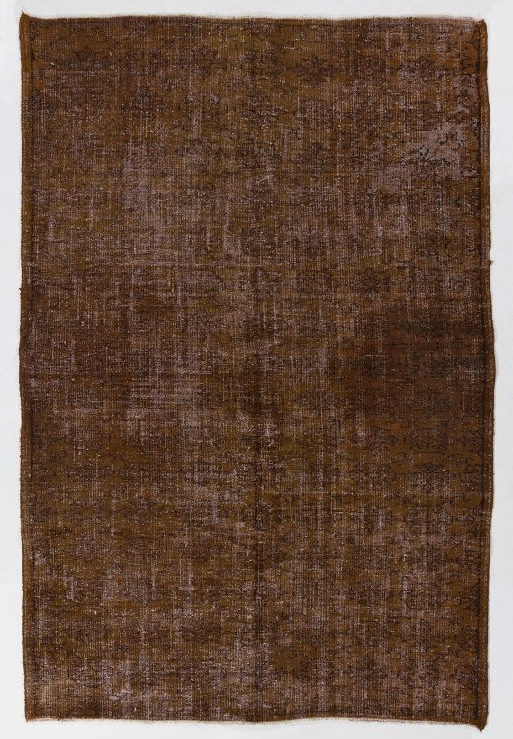 5'7 x 8'4 173 x 256 cm Turkish Overdyed Rug Brown by Zorlus