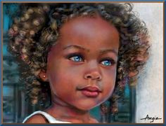 "Black Art  African American Blue Eyes- - Recently, world-class writer Toni Morrissey had a birthday. I thought of her when looking at this picture. She wrote the saddest story someone of us have ever read ""The Bluest Eye."" It's a story I wish I could ""un-read."""
