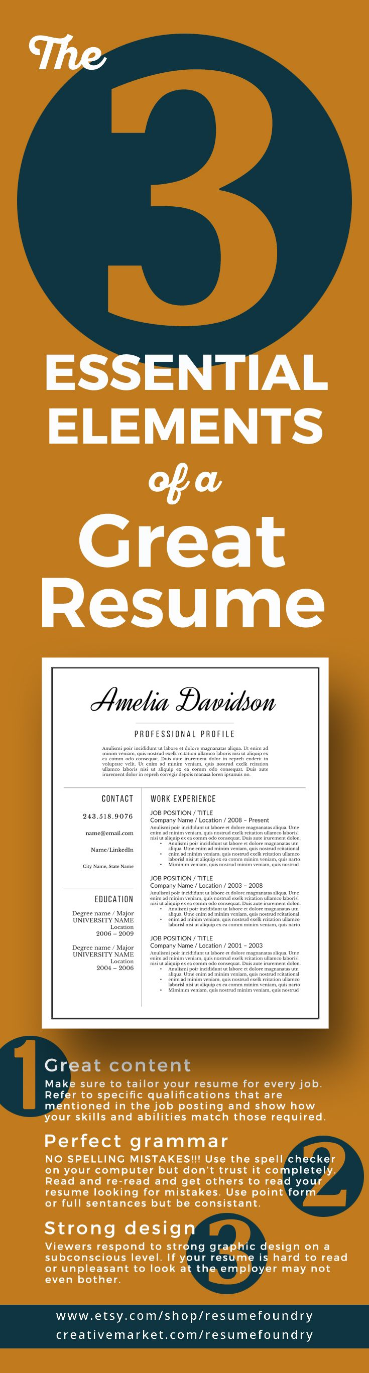 Make sure to include these three essential elements to perfect your resume - Resume Foundry, your resume template specialists.