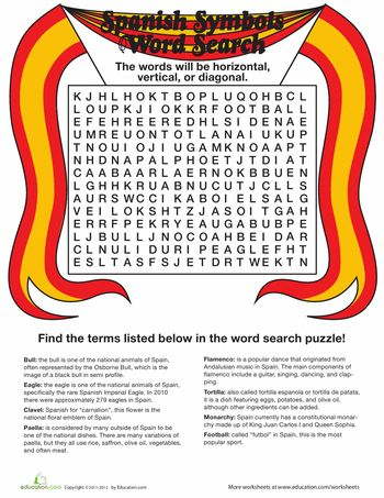 Worksheets: Spain Word Search