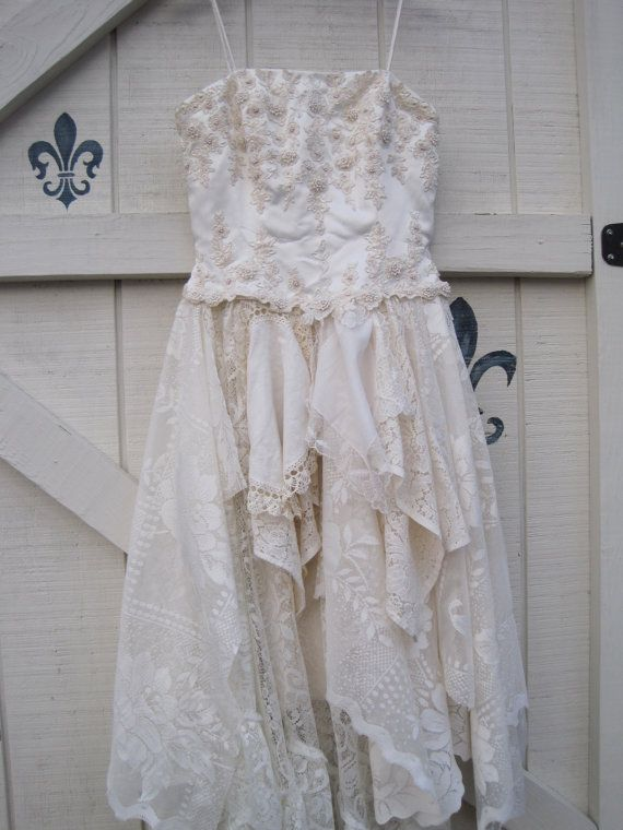 Cream Wedding dress tattered wedding dress 1012 by ShabyVintage, $177.00