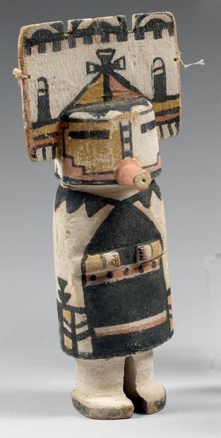 Kachina à la tableta crénelée Hopi, Arizona, U.S.A. Bois, pigments, cordelette