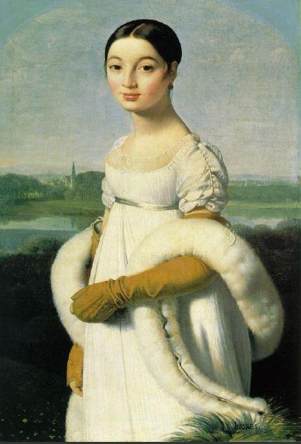 Mademoiselle Caroline Riviere    하이웨이스트라인과 길고 날씬하게 뻗은 실루엣을 특징으로 하고 있으며, 가슴이 많이 파인 네크라인으로 여성의 미를 한층 더 부각시키고 있다. 대부분의 소매는 퍼프소매로 동그란 모양으로 주름을 살짝 잡아줘서 귀여운 이미지 또한 느낄 수 있다. 전체적인 의상이 잠옷 같던 의상도 있었으며, 몸매의 아름다운라인을 살려주는 속이 다 비치는 시스루 드레스가 유행했다. 엠파이어 드레스의 유행은 짧았으나 강력했다. 당시 파티를 할 때의 의상은 좀 더 화려함을 강조했고, 팔의 반을 덮는 장갑을 착용했다.캐롤린 리비에르의 초상 역시 가슴이 많이 파인 네크라인과, 동그란 퍼프소매, 팔의 반을 더는 장갑과 걸친 숄을 통해서 엠파이어 스타일의 시대였음을 추측해 볼 수 있다.