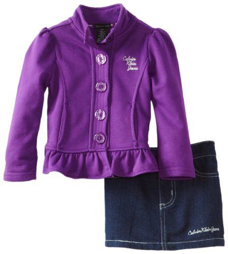 Calvin Klein Little Girls' Jacket with Denim Skirt, Purple, 3T - Click image twice for more info - See a larger selection of little girl skirt sets at http://girlsdressgallery.com/product-category/skirt-sets/ - girls,toddler,little girls clothing, little girls fashion, little girls dress, little girls fashion, baby, gift ideas