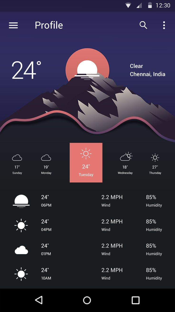 Weather app concept 2